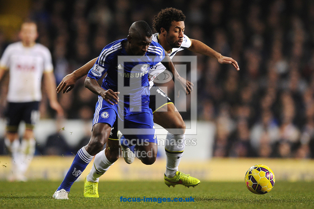 Ramires of Chelsea looks to get past Mousa Dembele of Tottenham Hotspur during the Barclays Premier League match between Tottenham Hotspur and Chelsea  at White Hart Lane, London<br /> Picture by Richard Blaxall/Focus Images Ltd +44 7853 364624<br /> 01/01/2015