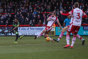 Forest Green Rovers Reece Brown(10) shoots at goal saved by Stevenage goalkeeper Paul Farman(1) during the EFL Sky Bet League 2 match between Stevenage and Forest Green Rovers at the Lamex Stadium, Stevenage, England on 26 January 2019.