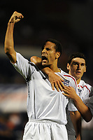 Rio Ferdinand Celebrates with Goalscorer Theo Walcott and Gareth Barry<br /> England 2008/09 <br /> Croatia V England World Cup 2010 Qualifying Match 10/09/08<br /> Photo Robin Parker Fotosports International