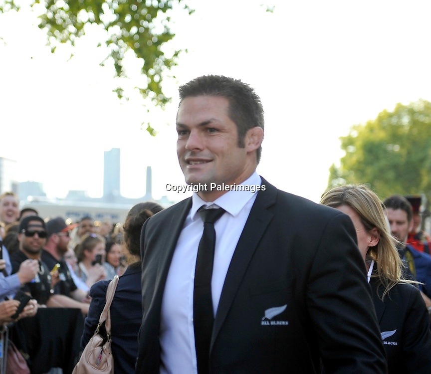 Richie McCaw (Captain) of New Zealand All Blacks during the New Zealand welcome ceremony for RWC 2015 at Tower of London, Tower Hill, London, England. September 11, 2015. Photo Michael Paler/ Photosport.co.nz