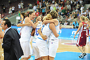DESCRIZIONE : Riga Latvia Lettonia Eurobasket Women 2009 Semifinal 5th-8th Place Italia Lettonia Italy Latvia<br /> GIOCATORE : Adriana Grasso Marinagela Cirone Roberta Meneghel Rffaella Masciadri<br /> SQUADRA : Italia Italy<br /> EVENTO : Eurobasket Women 2009 Campionati Europei Donne 2009 <br /> GARA : Italia Lettonia Italy Latvia<br /> DATA : 19/06/2009 <br /> CATEGORIA : esultanza<br /> SPORT : Pallacanestro <br /> AUTORE : Agenzia Ciamillo-Castoria/M.Marchi<br /> Galleria : Eurobasket Women 2009 <br /> Fotonotizia : Riga Latvia Lettonia Eurobasket Women 2009 Semifinal 5th-8th Place Italia Lettonia Italy Latvia<br /> Predefinita :