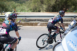 Hannah Barnes (GBR) and Alexis Ryan (USA) of CANYON//SRAM Racing ride to the sign-on before Stage 9 of the Giro Rosa - a 122.3 km road race, between Centola fraz. Palinuro and Polla on July 8, 2017, in Salerno, Italy. (Photo by Balint Hamvas/Velofocus.com)