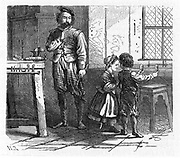 Artist's impression of the chance discovery of the principle of the telescope by children playing in the workshop of the Dutch optician Hans Lippershey (d1619).  Wood engraving, 1863