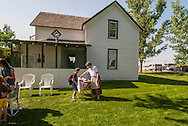 Big Horn County Historical Museum, Hardin, Montana, school children learning pioneer skills.