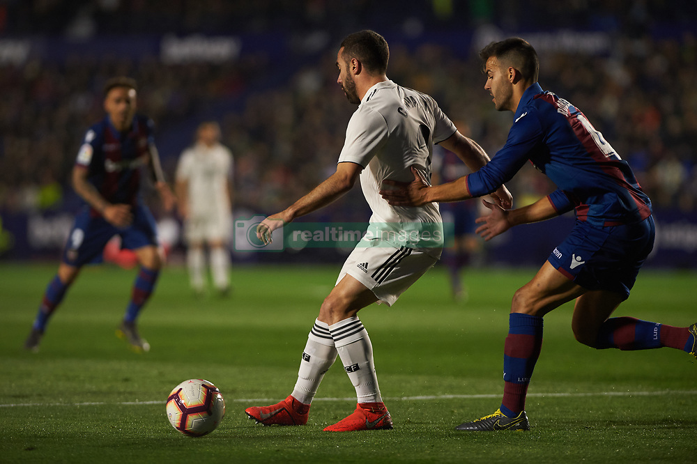 February 24, 2019 - Valencia, Valencia, Spain - Rober Pier of Levante UD and Daniel Carvajal of Real Madrid during the La Liga match between Levante and Real Madrid at Estadio Ciutat de Valencia on February 24, 2019 in Valencia, Spain. (Credit Image: © AFP7 via ZUMA Wire)