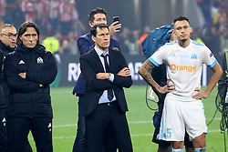 May 16, 2018 - Lyon, France - Olympique de Marseille v Atletico de Madrid - Uefa Europa League Final.The disappointment of Rudi Garcia manager of Marseille and Lucas Ocampos of Marseille at Groupama Stadium in Lyon, France on May 16, 2018. (Credit Image: © Matteo Ciambelli/NurPhoto via ZUMA Press)