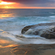 Receding Wave At High Tide - La Jolla Shoreline - Sunset