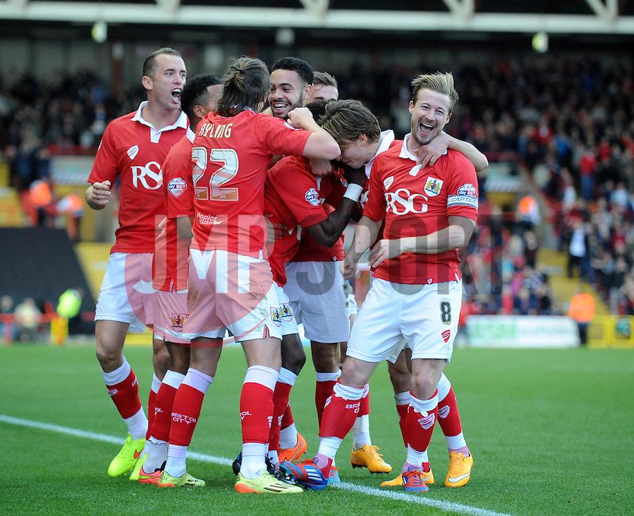 Bristol City's Kieran Agard celebrates with his team mates after scoring. - Photo mandatory by-line: Dougie Allward/JMP - Mobile: 07966 386802 - 01/11/2014 - SPORT - Football - Bristol - Ashton Gate - Bristol City v Oldham Athletic - Sky Bet League One