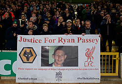 "WOLVERHAMPTON, ENGLAND - Monday, January 7, 2019: Liverpool supporters' banner ""Justice for Ryan Passey"" before the FA Cup 3rd Round match between Wolverhampton Wanderers FC and Liverpool FC at Molineux Stadium. (Pic by David Rawcliffe/Propaganda)"
