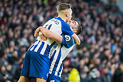 Leondro Trossard (Brighton) celebrates his goal with Neal Maupay (Brighton) during the Premier League match between Brighton and Hove Albion and Aston Villa at the American Express Community Stadium, Brighton and Hove, England on 18 January 2020.