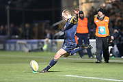 Chris Pennell conversion attempt during the Aviva Premiership match between Worcester Warriors and Sale Sharks at Sixways Stadium, Worcester, United Kingdom on 1 December 2017. Photo by Daniel Youngs.