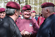 Old Paras catch up during the demonstration in support of Soldier F by former service personnel in Central Manchester on 19 April 2019.