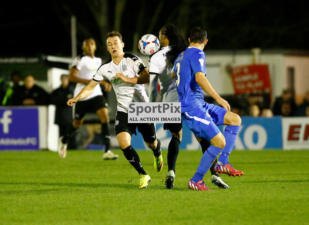 Dover's winger Ricky Modests (7) and Dover's striker Ricky Miller (9) experiance a moment of confusion. Dover Athletic v Eastleigh. Vanarama National League. 10  November 2015. (c) Matt Bristow | SportPix.org.uk