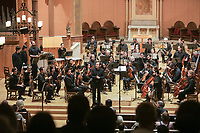 The Du Bois Orchestra conducted by Nathaniel Meyer in a concert of Verdi, Price, and Beethoven at the First Church in Cambridge MA on April 12, 2019. <br />