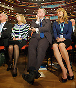 Conservative Party Conference, ICC, Birmingham, Great Britain <br /> Day 2<br /> 8th October 2012 <br /> <br /> Rt Hon George Osborne MP <br /> <br /> Chancellor of the Exchequer keynote speech <br /> <br /> Michael Gove watching <br /> <br /> <br /> Photograph by Elliott Franks<br /> <br /> <br /> Tel 07802 537 220 <br /> elliott@elliottfranks.com<br /> <br /> ©2012 Elliott Franks<br /> Agency space rates apply