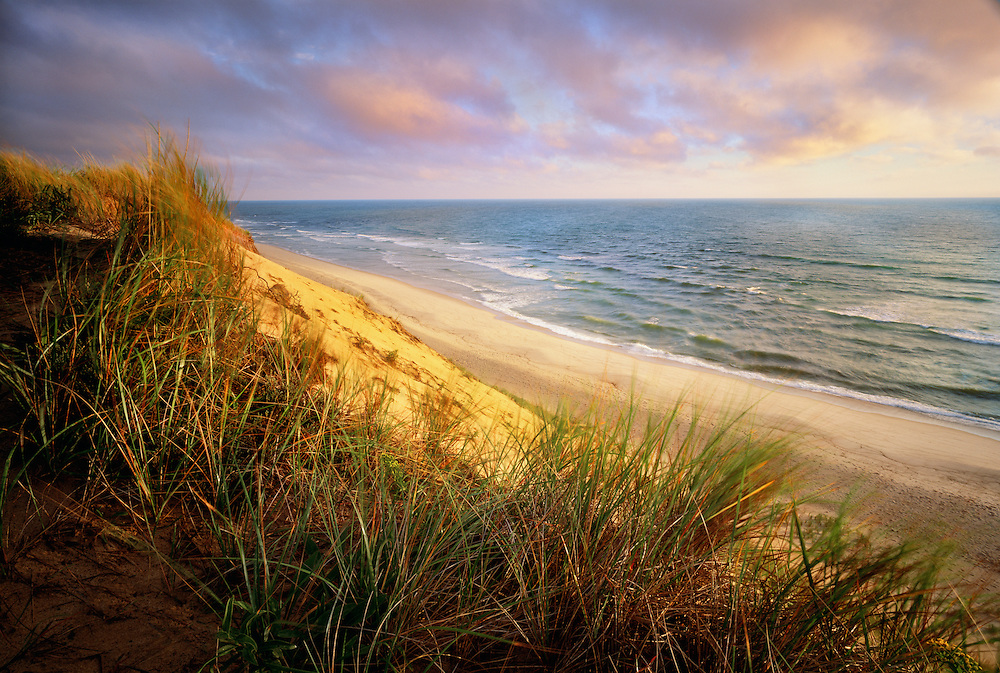 1000-1001 ~ Copyright: George H. H. Huey ~ White Crest Beach at sunrise from the top of dunes.  Atlantic Ocean.  Cape Cod National Seashore, Massachusetts.