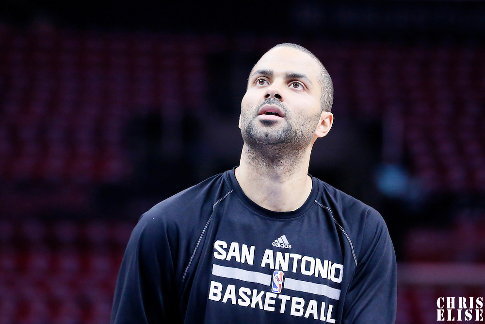 19 April 2014: San Antonio Spurs guard Tony Parker (9) warms up prior to the Los Angeles Clippers 107-92 victory over the San Antonio Spurs, during Game One of the Western Conference Quarterfinals of the NBA Playoffs, at the Staples Center, Los Angeles, California, USA.