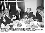 Charles Saatchi, Carl Bernstein, Mrs. David Bailey,  Alan Yentob, Mick Jagger, Mrs. Charles Saatchi.<br /> Vanity Fair Swinging London Party. River Cafe. London.20 November 1996.<br />Copyright Photograph by Dafydd Jones<br />66 Stockwell Park Rd. London SW9 0DA<br />Tel. 0171 733 0108