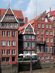 Historic half-timbered houses at Nikolaifleet in Hamburg Germany