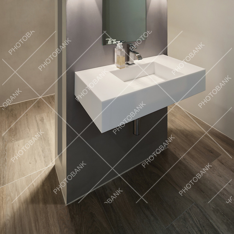 Modern bathroom, new trend design, sink with mirror