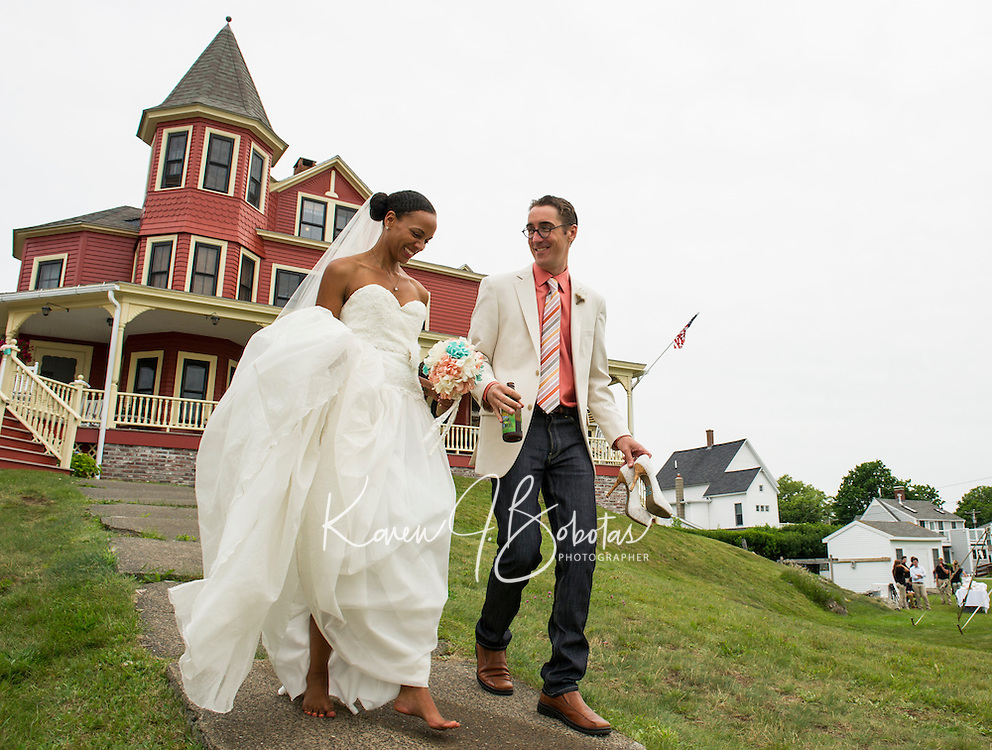 Jen and Tony's Wedding Day.  Portraits by the Sea  York, Maine.  ©2015 Karen Bobotas Photographer