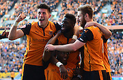 Wolves players celebrate Benik Afobe's goal during the Sky Bet Championship match between Wolverhampton Wanderers and Leeds United at Molineux, Wolverhampton, England on 6 April 2015. Photo by Alan Franklin.