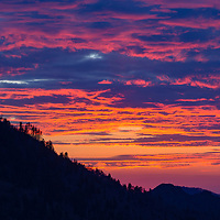 Beautiful sunset from Morton Overlook, Great Smoky Mountains National Park