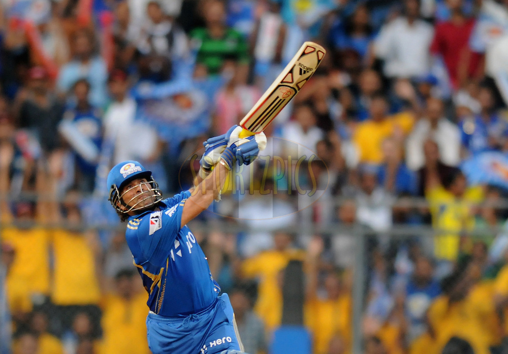 Sachin Tendulkar of Mumbai Indians bats during match 49 of the Indian Premier League ( IPL) 2012  between The Mumbai Indians and the Chennai Super Kings held at the Wankhede Stadium in Mumbai on the 6th May 2012..Photo by Pal Pillai/IPL/SPORTZPICS.
