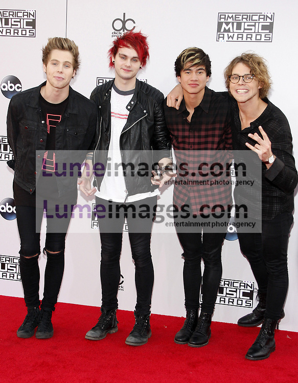 5 Seconds of Summer at the 2014 American Music Awards held at the Nokia Theatre L.A. Live in Los Angeles on November 23, 2014 in Los Angeles, California. Credit: Lumeimages.com