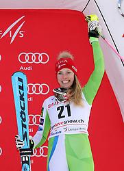 26.01.2018, Lenzerheide, SUI, FIS Weltcup Ski Alpin, Lenzerheide, alpine Kombination, Damen, Flower Zeremonie, im Bild Bucik, Ana (SLO, 3. Placed) // Ana Bucik from Slovenia during the Flowers ceremony for the women's Alpine combination of FIS Ski Alpine World Cup in in Lenzerheide, Austria on 2018/01/26. EXPA Pictures © 2018, PhotoCredit: EXPA/ Sammy Minkoff<br /> <br /> *****ATTENTION - OUT of GER*****