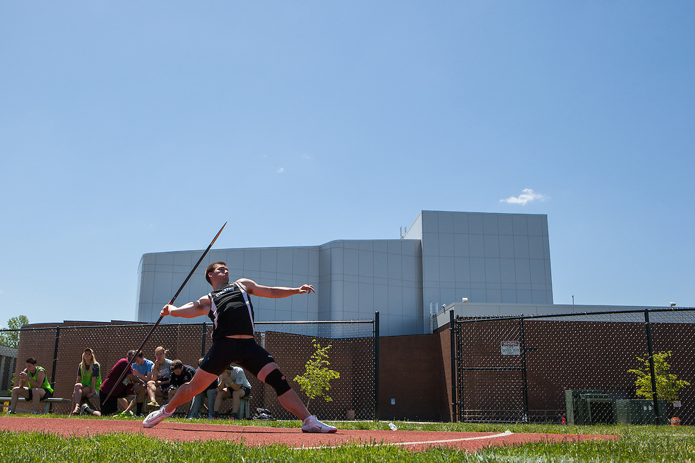 Richard Stockton College's Jack Stephenson competes in the men's javelin  at the NJAC Track and Field Championships at Richard Wacker Stadium on the campus of  Rowan University  in Glassboro, NJ on Sunday May 5, 2013. (photo / Mat Boyle)