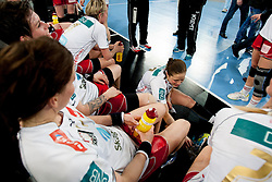 Team Larvik celebrate after handball match between RK Krim Mercator (SLO) and Larvik HK (NOR) in second game of semi final of EHF Women's Champions League 2012/13 on April 13, 2013 in Arena Stozice, Ljubljana, Slovenia. (Photo By Urban Urbanc / Sportida).