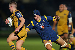 Andrew Kitchener of Worcester Warriors tackles Billy Searle of Bristol Rugby - Rogan Thomson/JMP - 04/11/2016 - RUGBY UNION - Sixways Stadium - Worcester, England - Worcester Warriors v Bristol Rugby - The Anglo Welsh Cup.