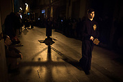Silence night procession in Maundy Thursday at the city center of Mataró city (Barcelona), during Easter 2015. Eva Parey/4SEE.