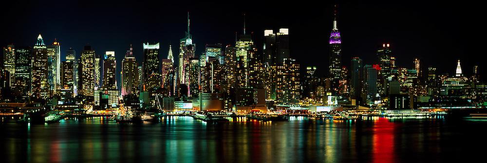 Midtown Manhattan Nightscape, Hudson River Reflections