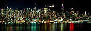 Midtown Manhattan Nightscape, Hudson River Reflections