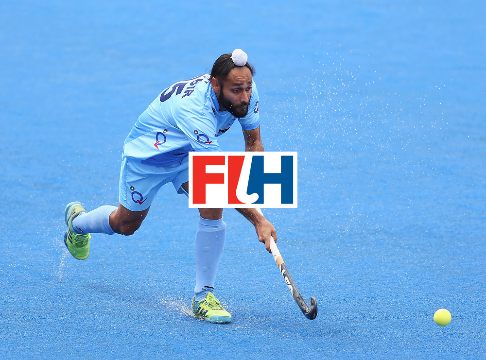 LONDON, ENGLAND - JUNE 25:  Satbir Singh of India in action during the 5th/6th place match between India and Canada on day nine of the Hero Hockey World League Semi-Final at Lee Valley Hockey and Tennis Centre on June 25, 2017 in London, England.  (Photo by Steve Bardens/Getty Images)