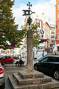 The inquisition stake (Auto-da-fe) in front od the St. Bartolomeu Church, Coimbra, Portugal