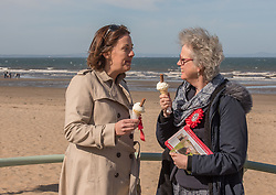 Scottish Labour leader Kezia Dugdale joined local Labour council candidate Maureen Child and party activists for some last minute campaigning on Portobello Prom Pictured: Kezia Dugdale and Maureen Child<br /> <br /> <br /> © Jon Davey/ EEm