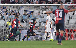 TURIN, Oct. 21, 2018  Genoa's Daniel Bessa (3rd L) celebrates his goal during an Italian Serie A soccer match between FC Juventus and Genoa in Turin, Italy, Oct. 20, 2018. The match ended 1-1. (Credit Image: © Alberto Lingria/Xinhua via ZUMA Wire)