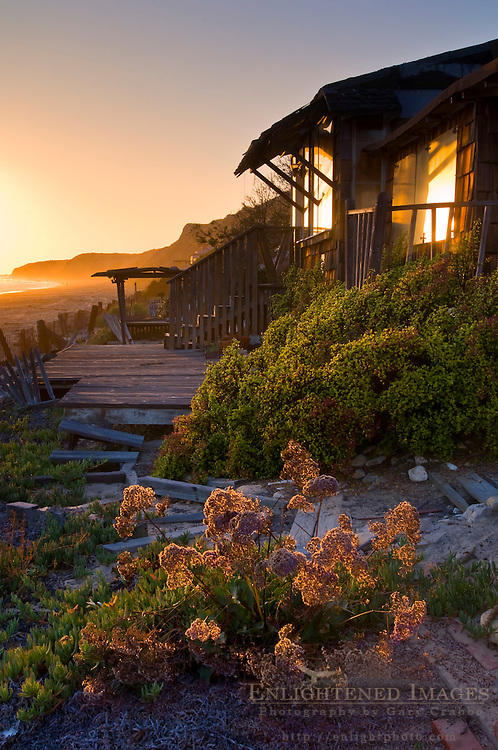 Sunset and old beach bungalow cabins at Crystal Cove State Park Historic District, Corona del Mar, Newport Beach, California