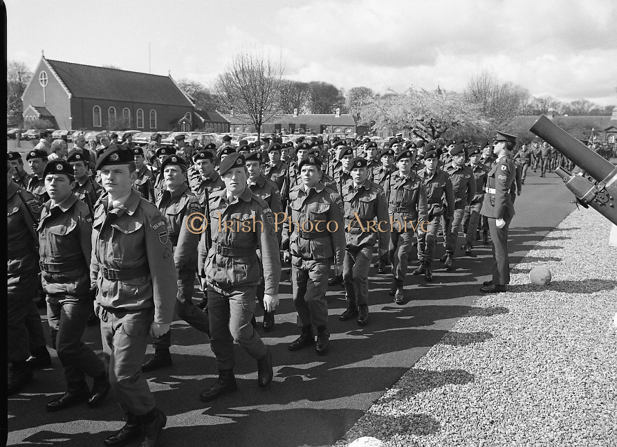 1983-04-12.12th April 1983.12-04-1983.04-12-83...Photographed at McKee Barracks, Cork..On the March..Troops from the 53rd Infantry Battalion including some from the Southern Commmand, pass the reviewing stand which is out of picture.