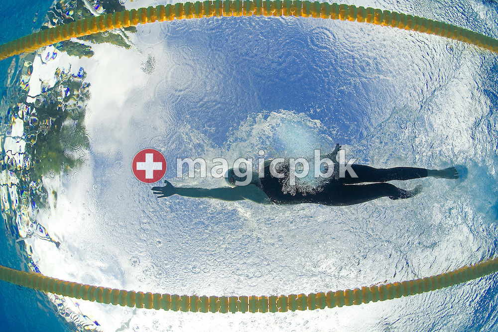Britta Steffen of Germany on her way to setting a new World Record and winning the gold medal in the women's 100m Freestyle final at the European Swimming Championships on August 2, 2006 in Budapest, Hungary. (Photo by Patrick B. Kraemer / MAGICPBK)