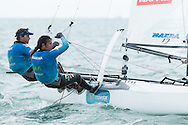 MIAMI - January 29, 2015.   Iker Martinez (ESP) is running side-by-side round-the-world and Olympic campaigns.  Martinez is pictured here at the 2015 ISAF Sailing World Cup in Miami with Nacra 17 crew, Marina Lopez, whle Xabi Fernandez takes the helm for two legs on the Volvo Ocean Race.