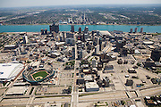 Comerica Park to downtown -- Woodward Ave and Fisher Freeway (I75) note surface and structured parking