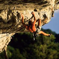 Jean-Marie Shenkel climbing Tantrum, 8a+, Tonsai Beach, Thailand