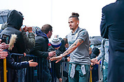 Leeds United midfielder Kalvin Phillips (23) arrives at the ground during the EFL Sky Bet Championship match between Leeds United and Queens Park Rangers at Elland Road, Leeds, England on 2 November 2019.