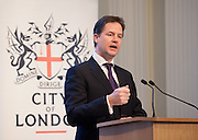 Deputy Prime Minister Nick Clegg  delivers a speech on rebalancing the economy at Mansion House, Walbrook City of London on January 16th 2012.. The Speech hosted by CentreForum, in association with the City of London, followed by Q&A session with invited audience of business leaders. ..Photo Ki Price.