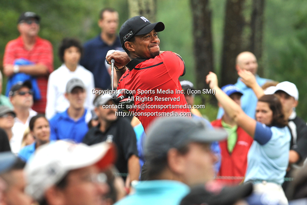 02 September 2013:Tiger Woods not happy as he watches his 12th hole tee shot go to the right into the woods during the Final Round of the Deutsche Bank Championship at TPC Boston in Norton, MA***Editorial Use Only*****
