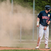 25 April 2010: Aaron Hornostaj of Rouen is seen after he slides into third base during game 2/week 3 of the French Elite season won 12-0 by Rouen over the PUC, at the Pershing Stadium in Vincennes, near Paris, France.